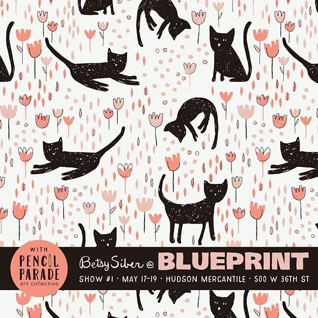 Of course, there are cats too! Blue Print, Show 1, Booth #44 with @pencilparade Thursday-Saturday at Hudson Mercantile, 500 West 36th Street, New York. These garden kitties would make great girls' leggings!⠀ ⠀ #artlicensing #surfacepattern #patternobserver #patterns #patterndesign #comeseeme #blueprintshows #blueprintshows1 #cats #blackcat #floral #kidsprint