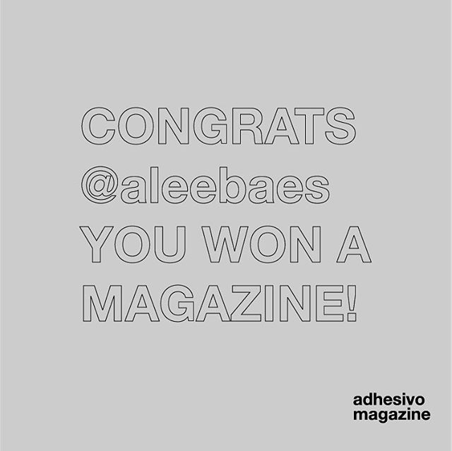 CONGRATULATIONS @aleebaes you won the mag giveaway! Make sure to direct message us your mailing information, and we'll send over your first issue of adhesivo ✌️