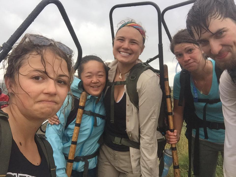 2016 Students still in good spirits after getting caught in a rainstorm.