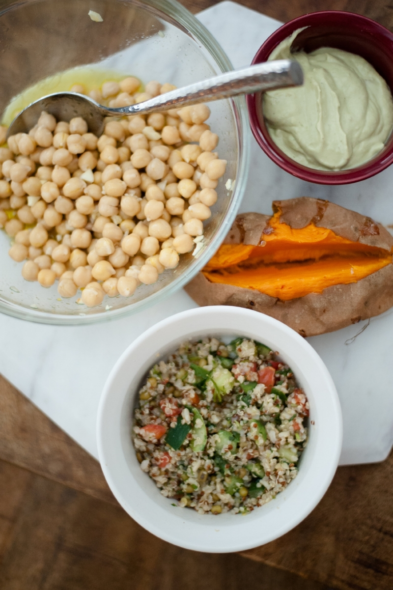 Lisa's Kitchen | Mediterranean Stuffed Sweet Potatoes with Chickpeas and Quinoa Salad