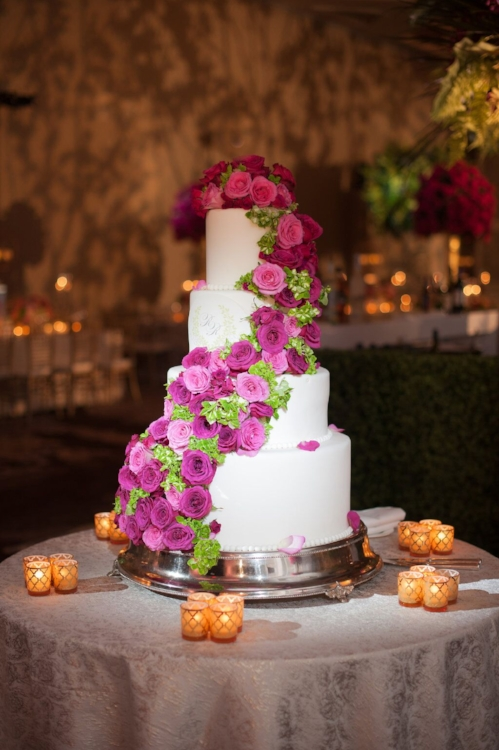 Lisa Stoner Events - Orlando Luxury Weddings - Four Seasons Orlando -  Wedding Cake- Garden Wedding - modern wedding- wedding cake with cascade of flowers.jpg