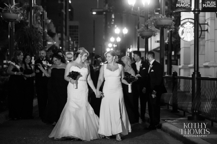 Lisa Stoner Events - Luxury Weddings - Orlando Weddings - Grand Bohemian Hotel - black tie wedding - same sex wedding - Marriage Equality  - Wedding Planner - plum and grey wedding - nighttime wedding party photos - urban wedding photos.jpg