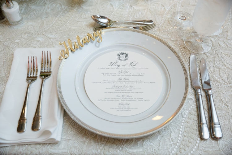 lisa stoner events- central florida wedding planner- ritz carlton wedding- wedding reeption- white charger plate with gold rim - lace linen- custom menu cards.jpg