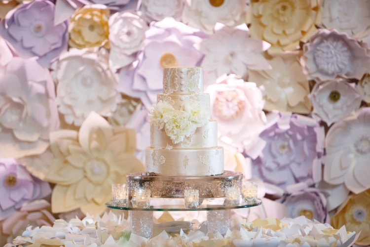 lisa stoner events- orlando luxury wedding planner- ritz carlton orlando grande lakes- paper flower wall - white wedding cake - lace applique with satin buttons.jpg