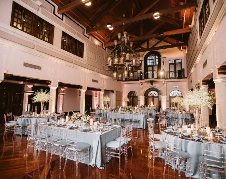lisa stoner events- central florida luxury wedding planner - isleworth country club wedding - clear chiavari chairs- slate linen - dendrobium orchid wedding arrangement.jpg