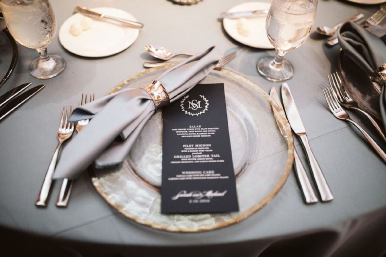 lisa stoner events- windemere luxury wedding planner - isleworth wedding - glass charger - slate linen- custom menu cards- a chair affair.jpg