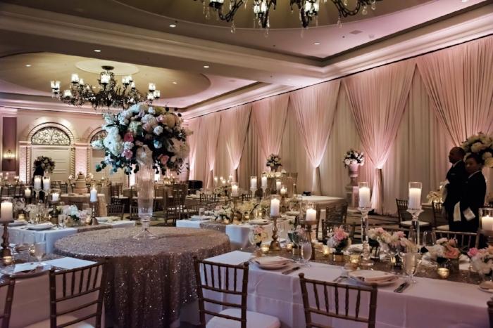 lisa stoner weddings - ritz carlton orlando wedding reception- pink and white wedding- sparkly wedding decorations - long wedding reception tables- chiavari chairs.jpg