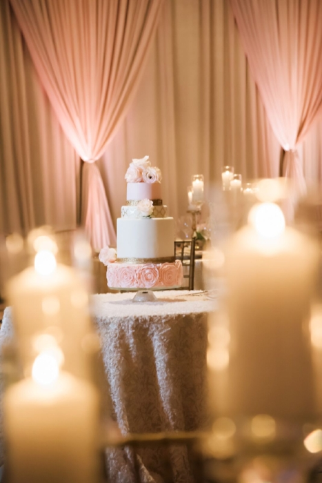 lisa stoner wedding - pink and white wedding- wedding with lots of candles- pink white and gold wedding cake- luxury orlando wedding planner.jpg