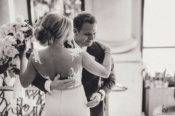 lisa stoner events- best wedding planner in orlando - first look - crying groom- black and white wedding photos - bride- groom- four seasons orlando.jpg