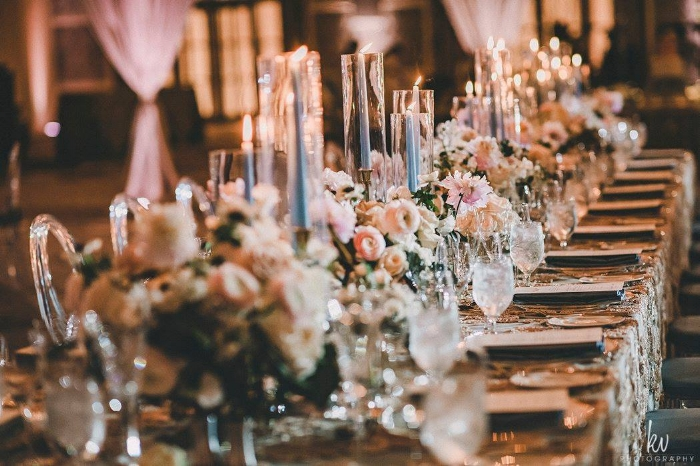 lisa stoner events- four seasons orlando reception - ballroom reception- head table - long wedding tables - pink and white centerpieces.jpg
