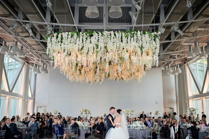 drphillips-wedding-floral chandelier - first dance- downtown orlando wedding - orlando wedding reception - grey and blush wedding.jpg