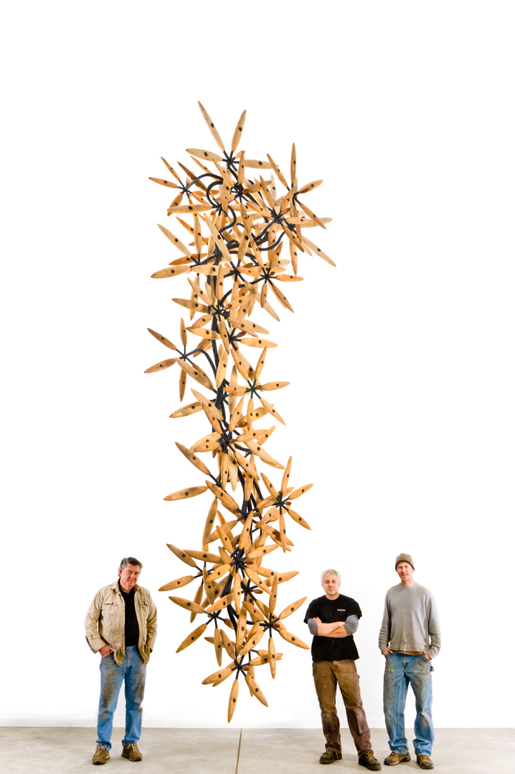 Again the Falling Flowers , 2008 Wood and steel 18' x 5' x 5'  Private Collection