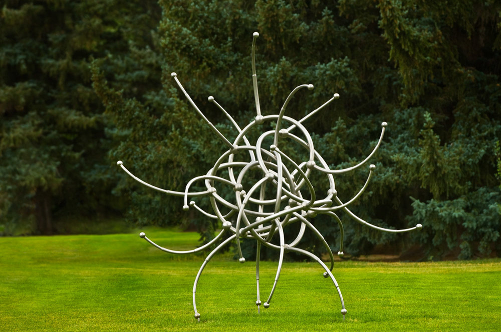 "In Circle , 2008 Stainless steel 120"" x 113"" x 106""  Private Collection"