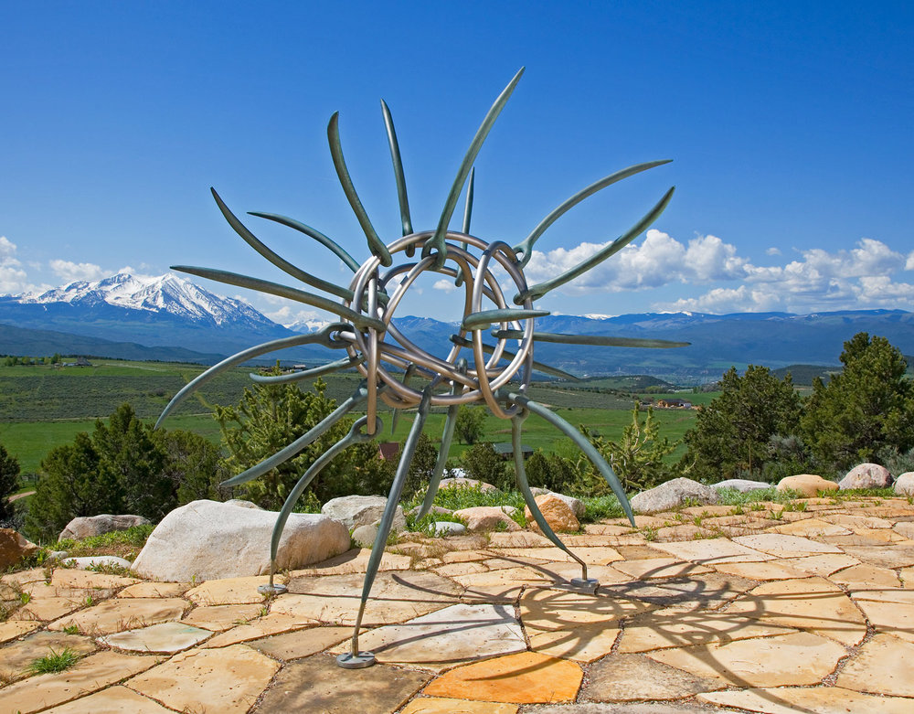 "Knot and Needle , 2007 Bronze and stainless steel 105"" x 108"" x 108"""