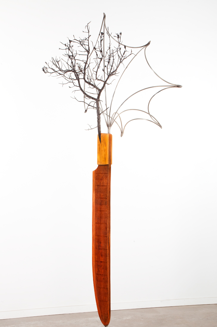"Standing Knife, Pinon, and Morning Glory , 2009 Bronze, mahogany and stainless steel 126"" x 46"" x 58"""