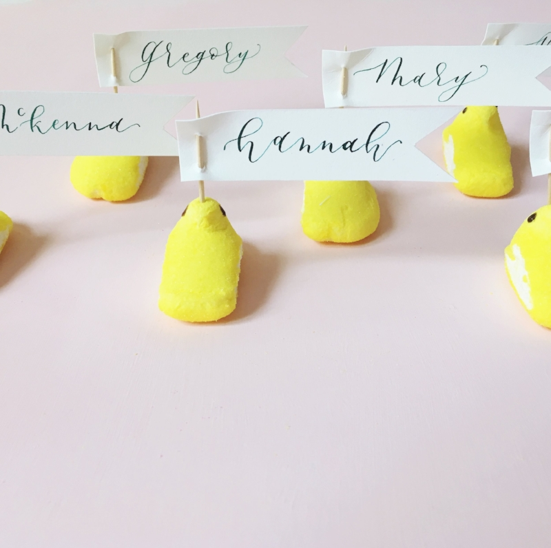 Okay, friends. This is a totally cute idea and actually super easy. Just cut strips of paper, write your guests' names and than use a toothpick to attach the name cards through the peeps!