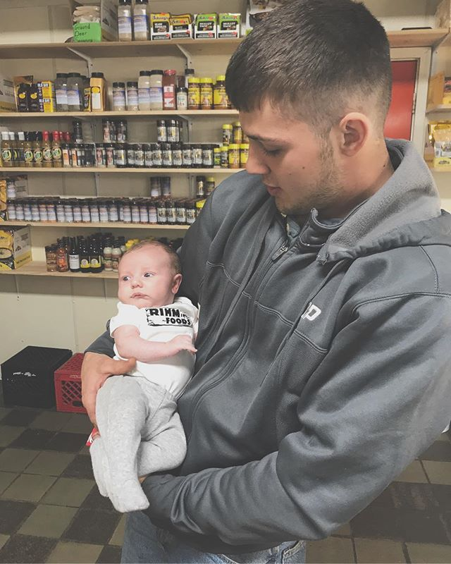 Baby Jack Ryan Drake visited his grandparents and uncles at the meat plant sporting his Rihm Foods onesie. Jack is the youngest of the Rihm's but is definitely the most handsome! 🥓🥓🥓