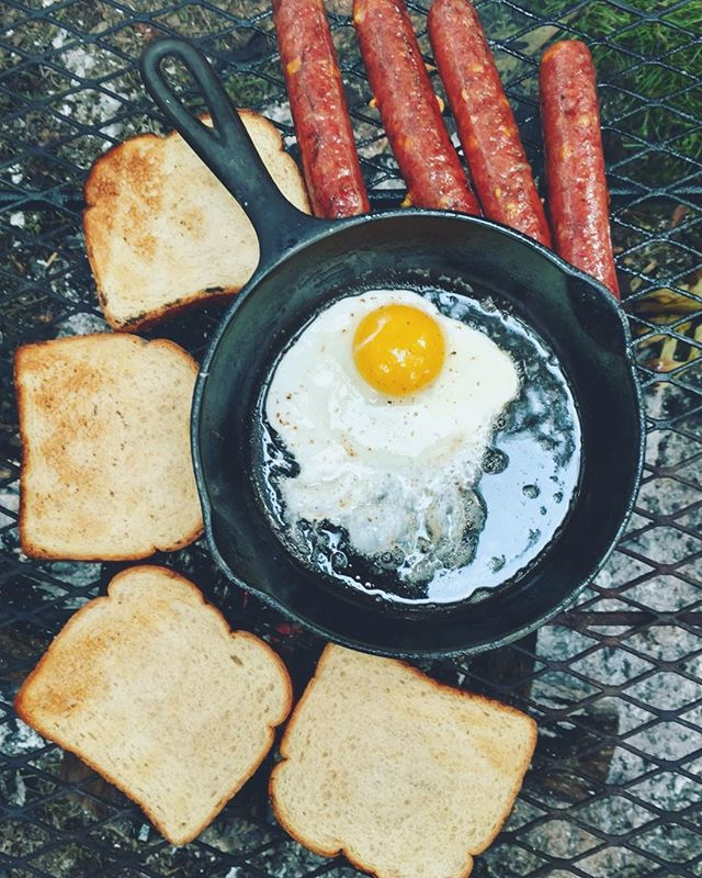 Our camping trip last month was a tasty one 🏕 Cheesy Smoked Sausage always hits the spot and is a very easy camping meal. Chef Joe cooked the eggs in bacon grease (is there any other way to make eggs??) 🍳and we slathered our toast in apple butter. What are some camping recipes you use?