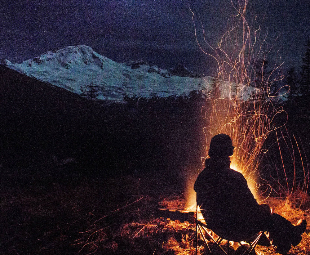 Campout near Mt. Baker, by  Audra Lee . If you are prepared, and love a good campfire, there are plenty of places to warm up before heading back to the Heliotrope.