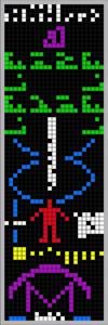 Arecibo radio telescope message sent November 16, 1974, aimed at the globular star cluster M13, 25,100 light-years away from Earth