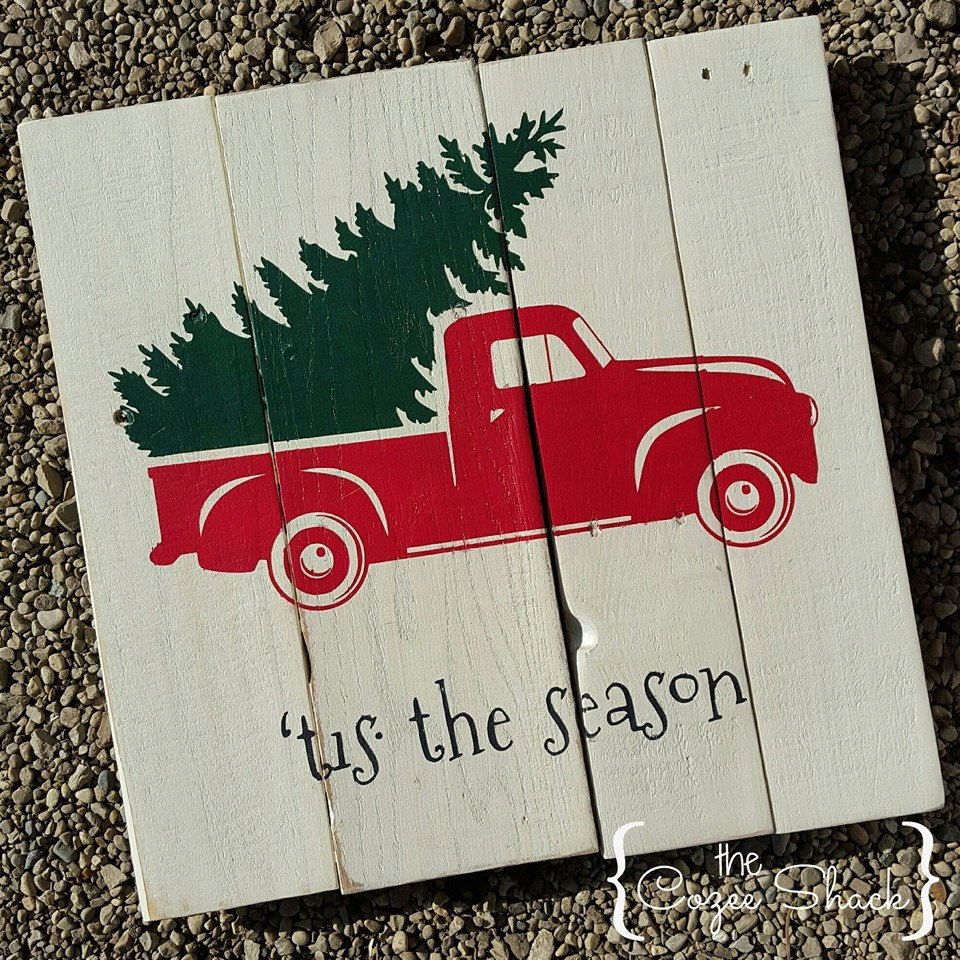 vintage red truck with christmas tree wood sign