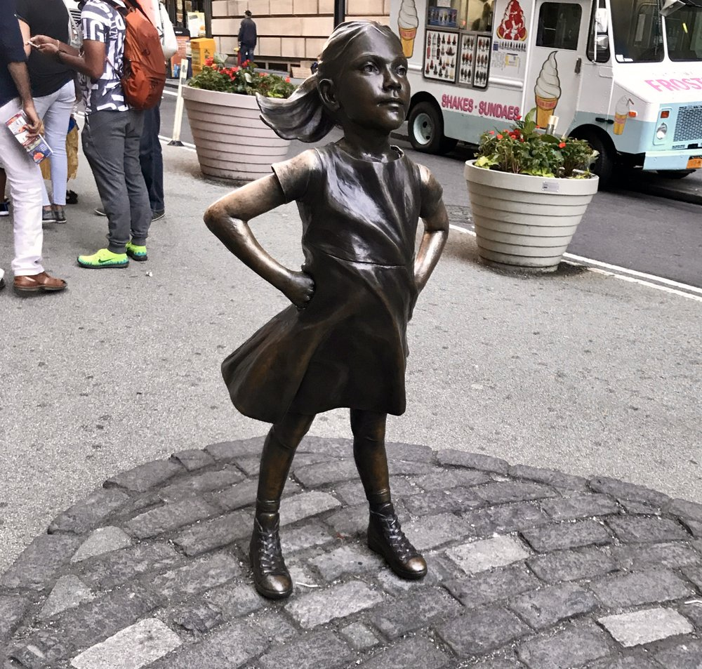 Fearless Girl statue (By: Kristen Visbal)