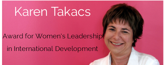 Announcing the 2017 winner of the Karen Takacs Award for Women's Leadership in International Development. Recognizing feminist advocacy and collaborative leadership in global cooperation in honour of Karen Takacs, a celebrated and cherished leader of the Canadian international community.