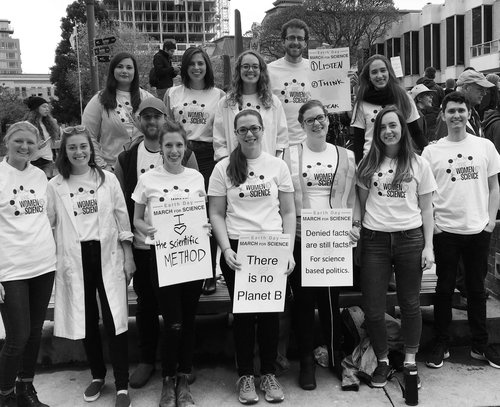 WiS March for Science attendees (in our new shirts!)