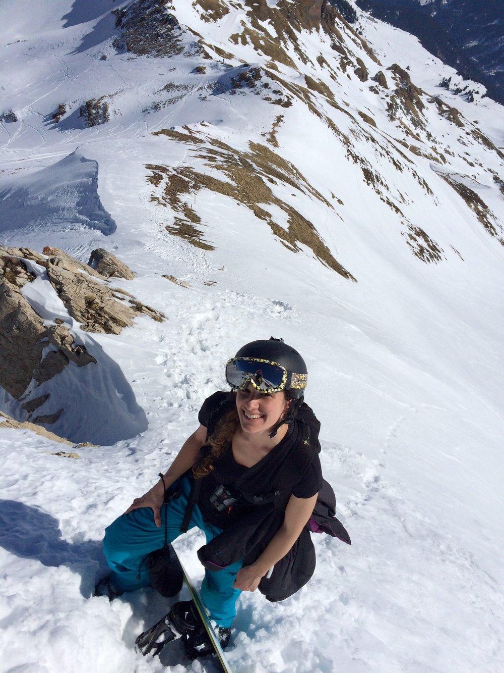 Backcountry snowboarding in Flumserberg, Switzerland.