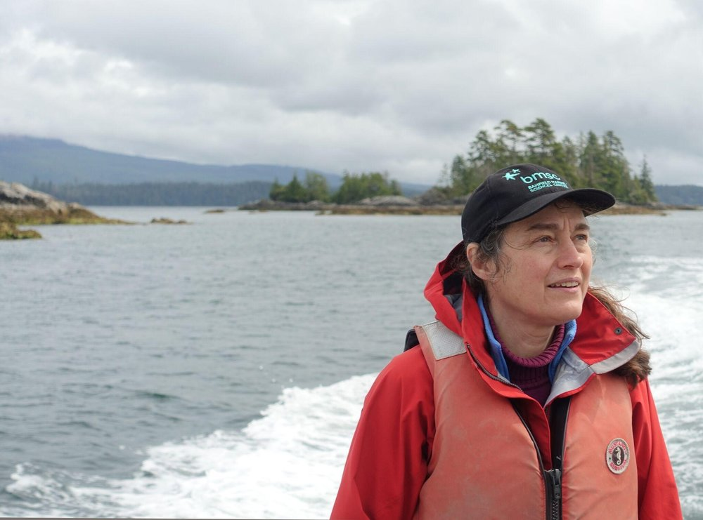 Dr. Hawkins pictured on one of many trips into the field on BC's west coast