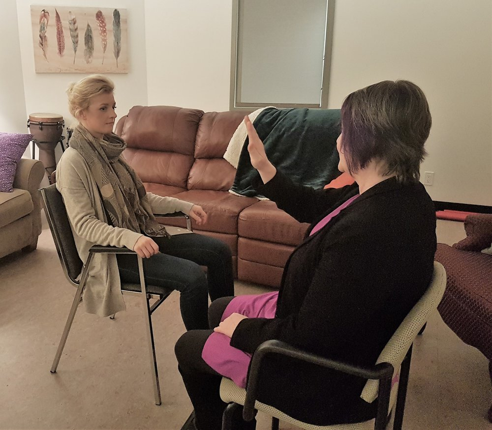Jennifer during Simulated Eye Movement Desensitization and Reprocessing (EMDR) session