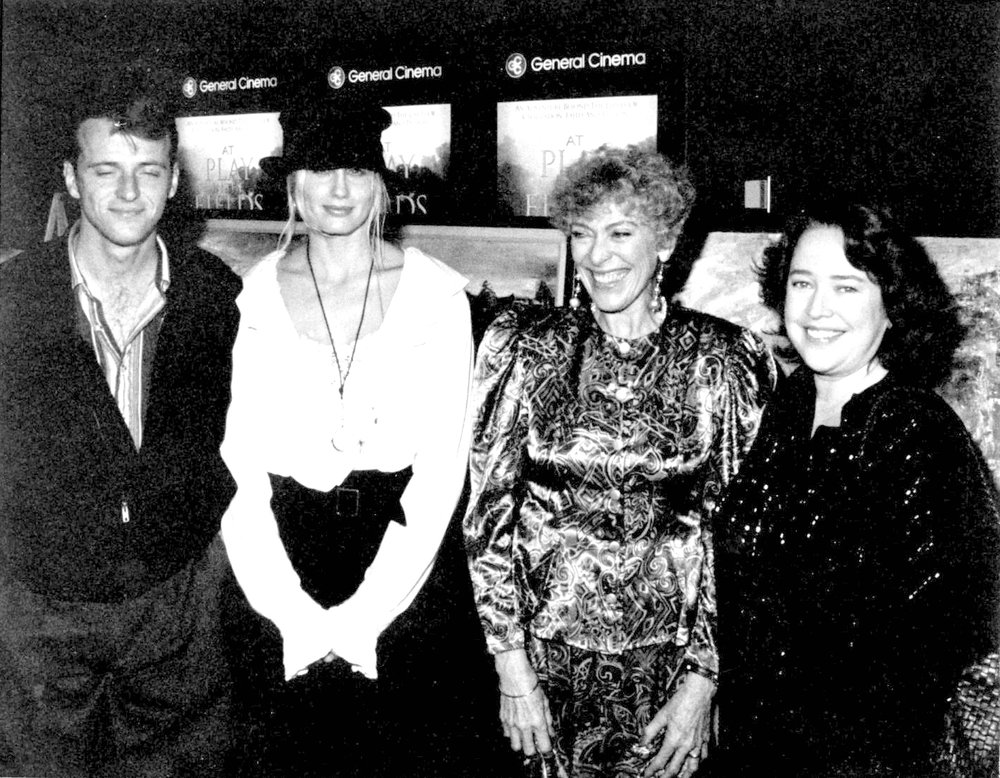 """Rosita's Rainforest Paintings on Display at 1991 LA Movie Premiere of """"At Play in the Fields of the Lord."""" - With Actors Aidan Quinn, Daryl Hannah & Kathy Bates"""
