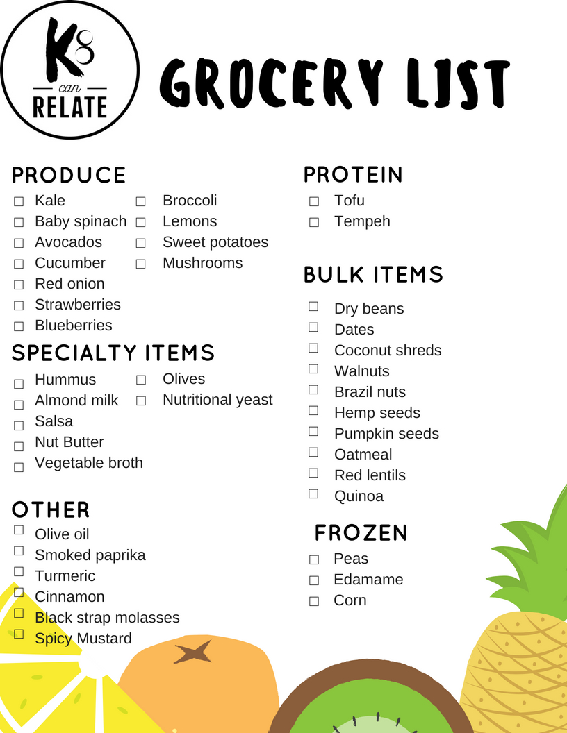 Feel free to save or print this grocery list for your own use!