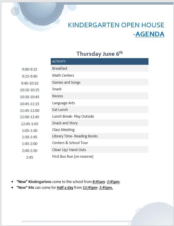 Kindergarten/ K4 Open House Agenda for TOMORROW (June 6th