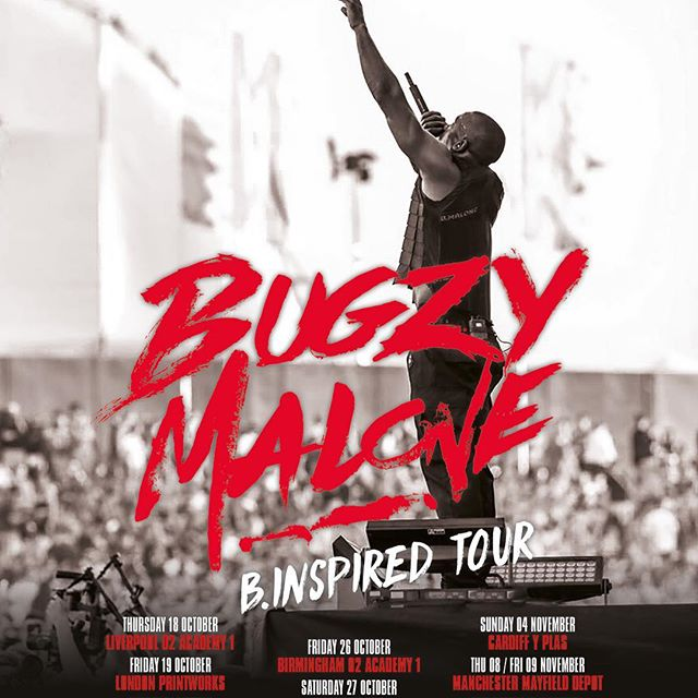 Catch us on support duties tonight @printworkslondon @thebugzymalone