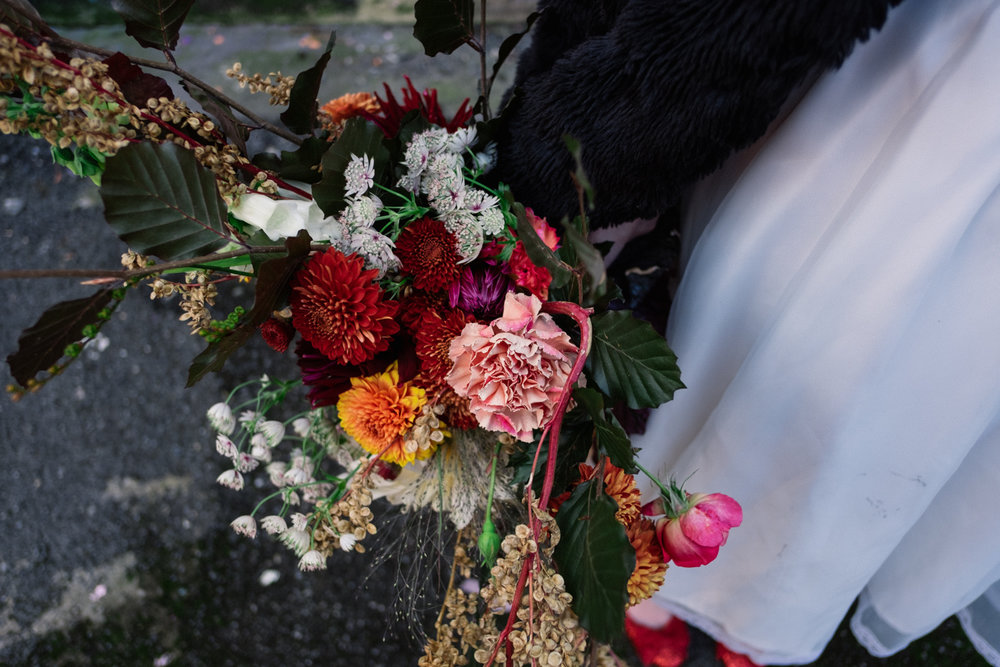Close up photo of the Fletcher and Foley wedding bouquet.