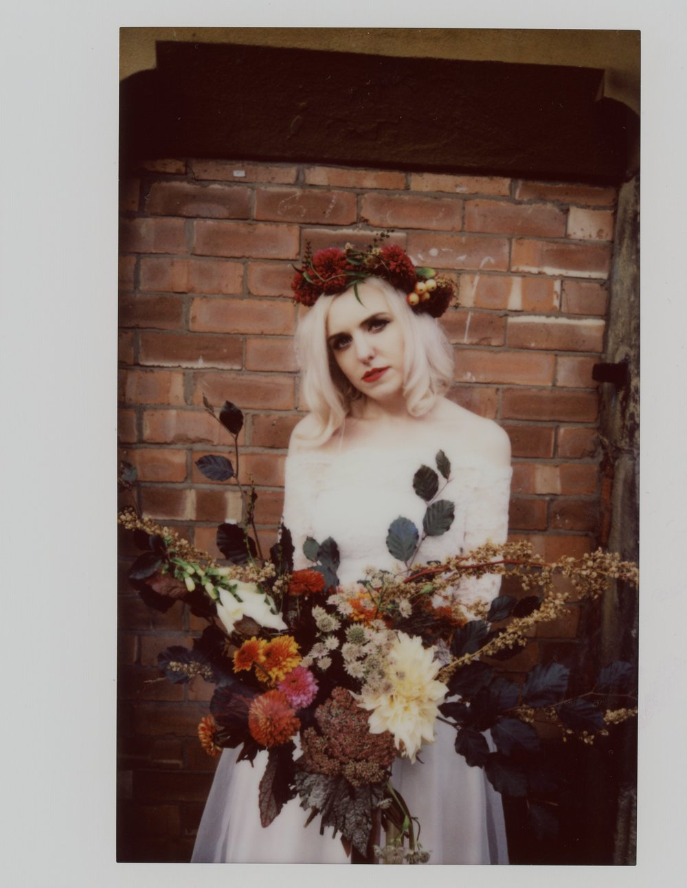 Instax wide of Grunge styled bride Martha