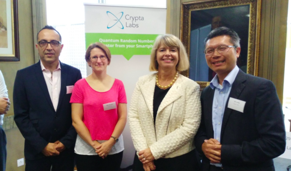 Crypta Labs team with Harriett Baldwin MP