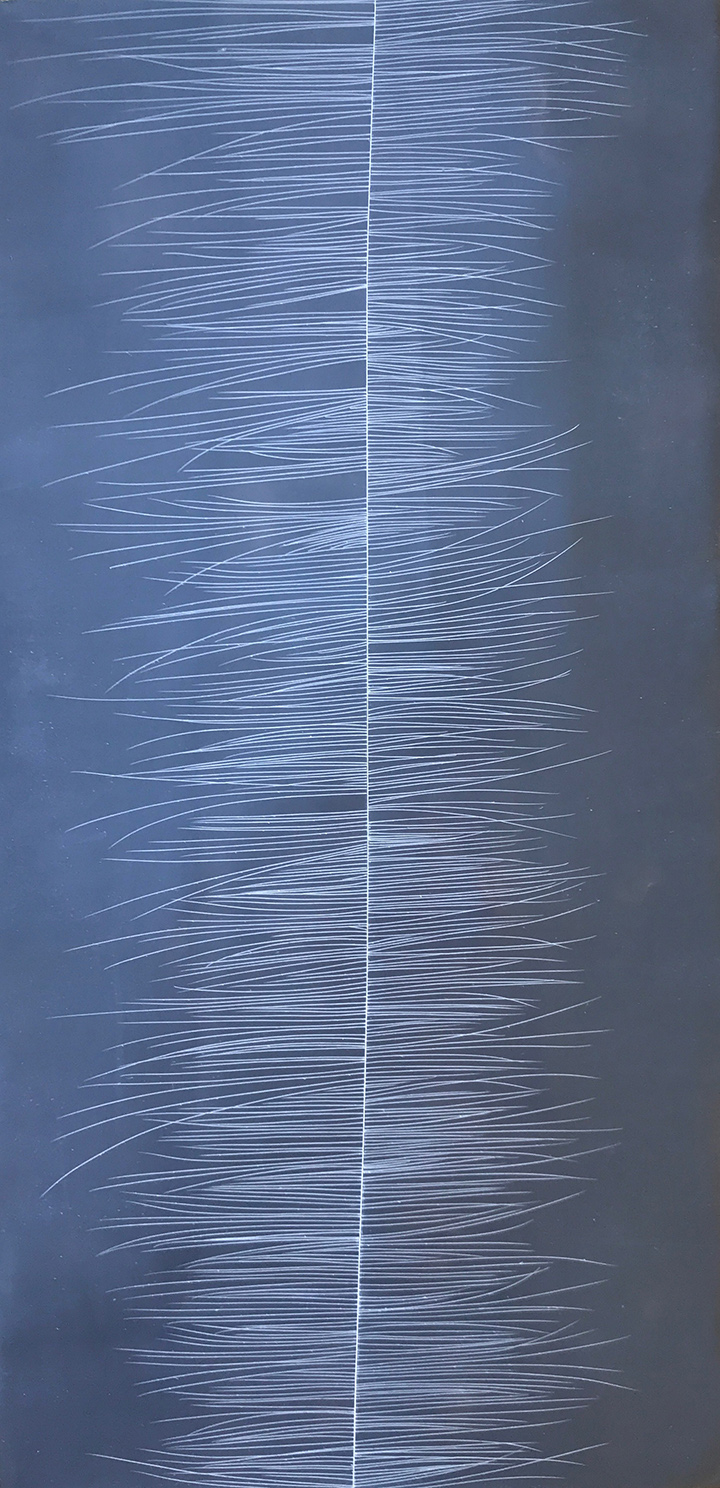 Threadline #7,   encaustic on cradled panel, 36x12, 2017