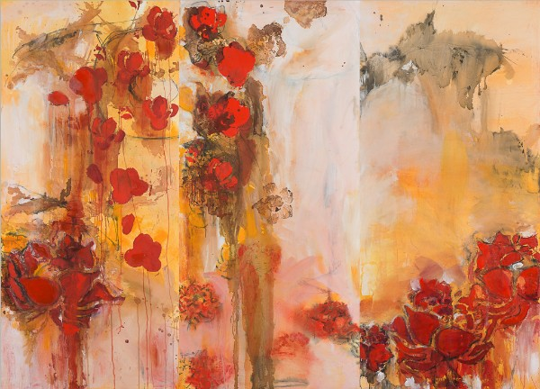 Diane Williams   ,    The Three Graces   ,  mixed media triptych on canvas, 2018