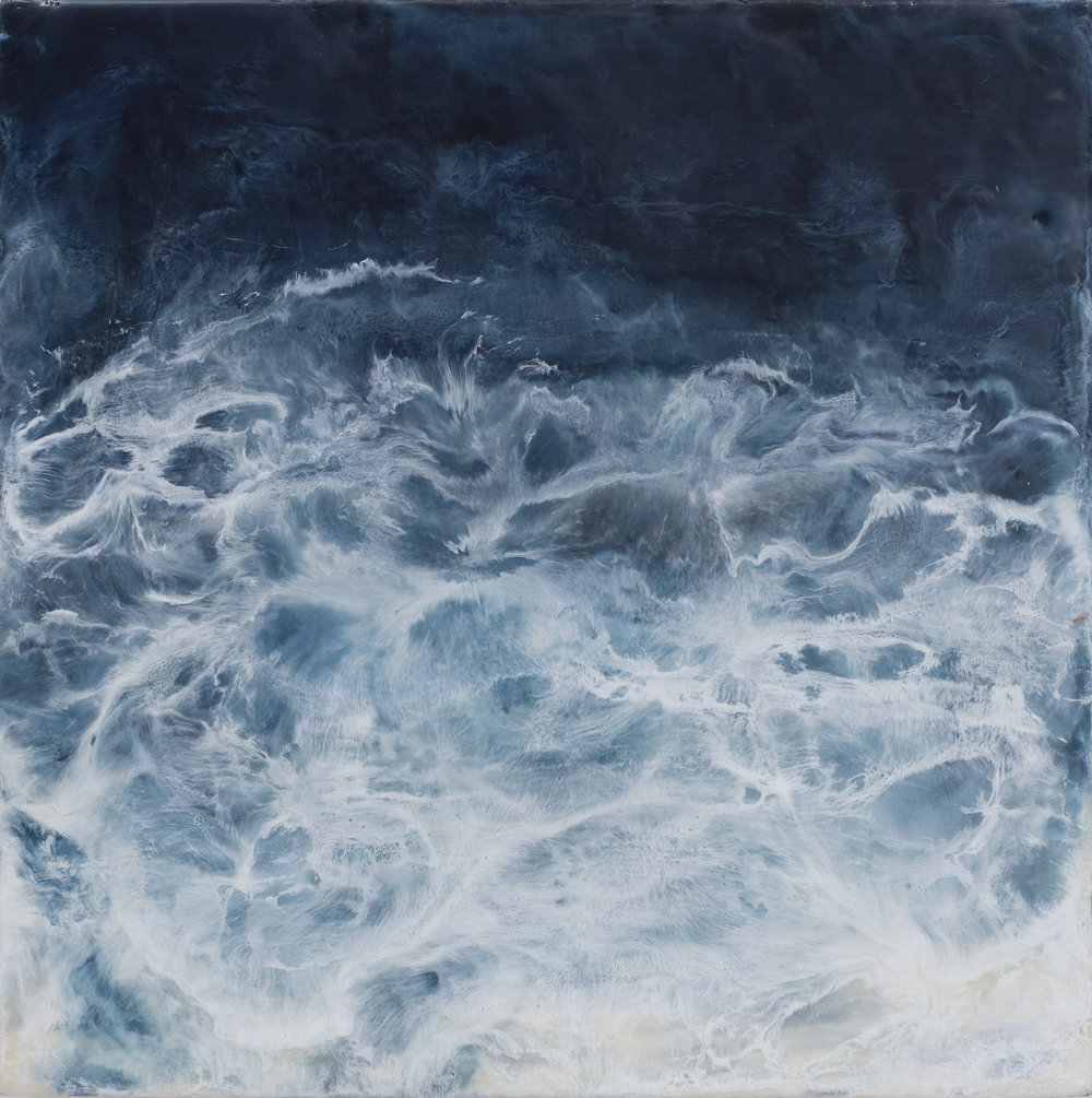 "Maresia 4  , oil and encaustic on cradled panel, 12"" x 12"", 2018"
