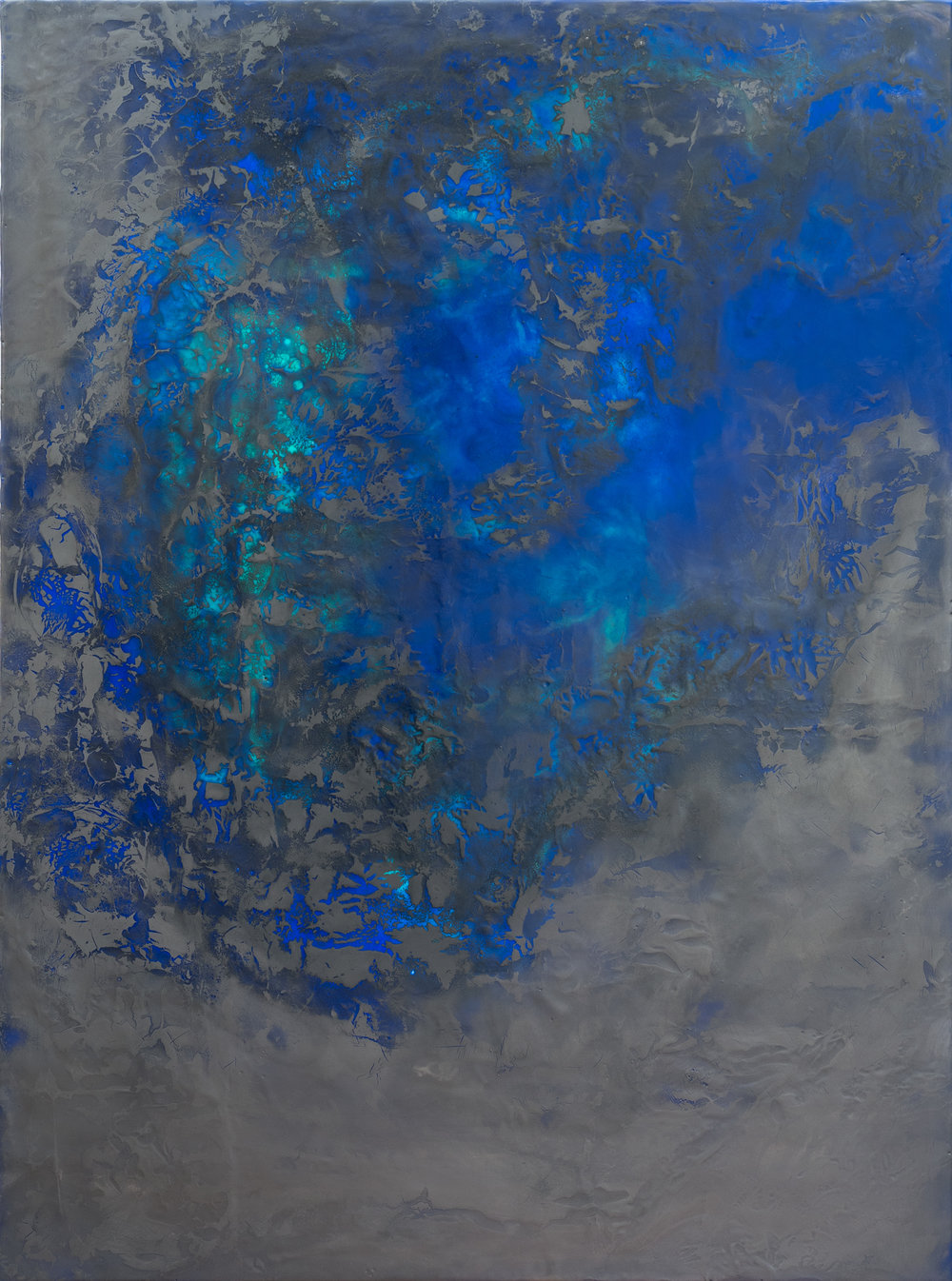 "Interstice 6  , oil, graphite and encaustic on cradled panel, 30"" x 40"", 2018"