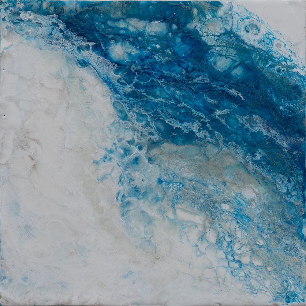 "Maresia 5,   oil and encaustic on cradled panel, 12"" x 12"", 2018"