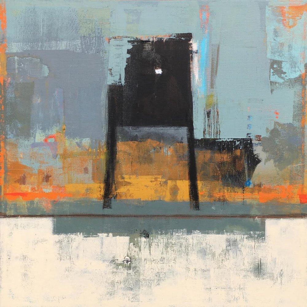 Ship Watcher,   paint on paper, 18 x 18, 2018