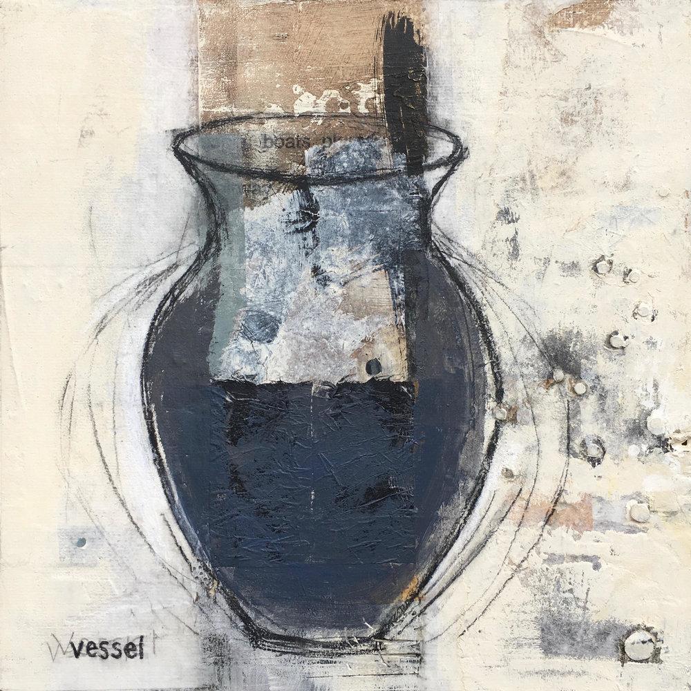 Vessel  , paper, paint, plaster on panel, 12x12, 2018