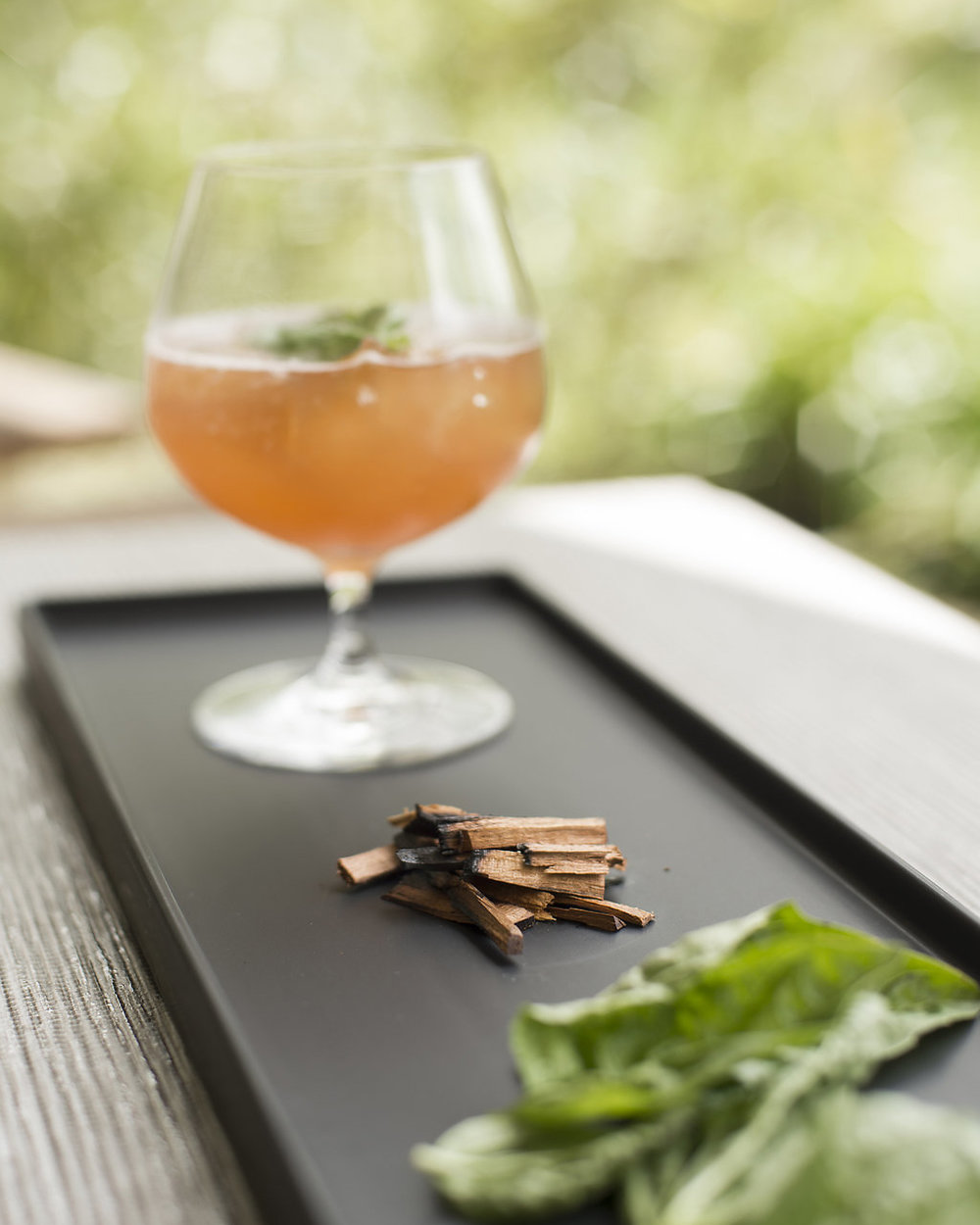 SMOKED BASIL   garden basil, fresh pressed lime, cherry wood smoke, maraschino liqueur, aged rum