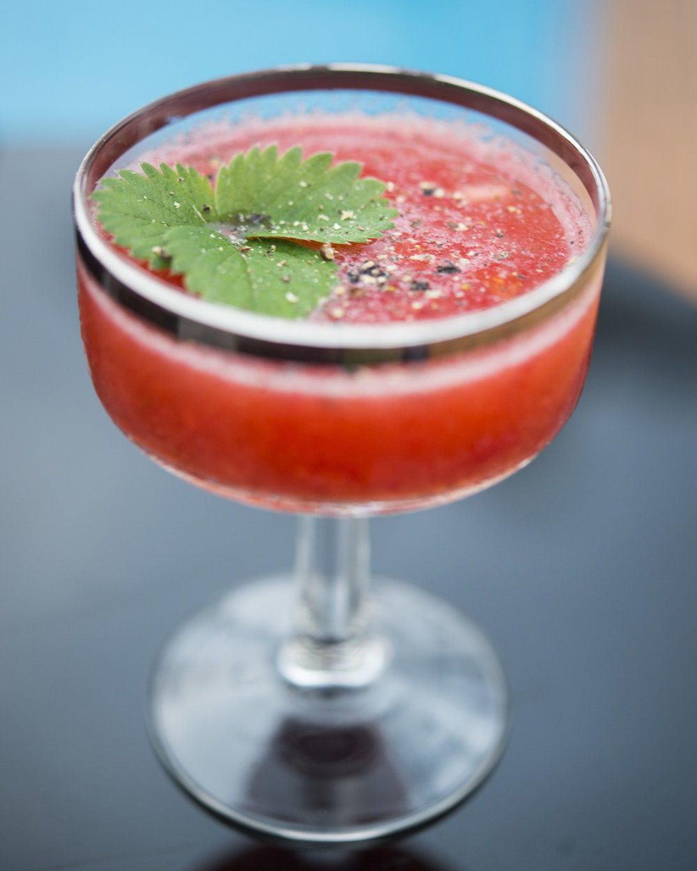 WILD RED HEAD   fresh pressed Kula strawberries and lime, aged balsamic, touch of sugar, cracked black pepper, gin