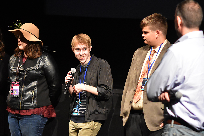 Aaron Viazanko of Lexington, SC, discussed his short  Art Imitating Life  during Q&A at the YFP Top Ten Screening.