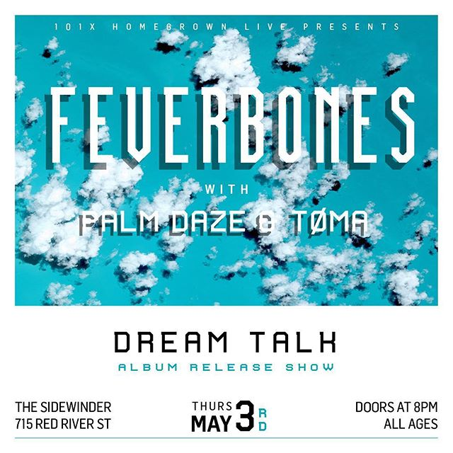 DREAM TALK album release show next Thursday, May 3rd at @thesidewindertx with @palmdaze and @thebandtoma! Good friends, good vibes, new songs, sweet vinyl - hope to see ya. ⛱ design by @mustard__tiger #101xhomegrownlive