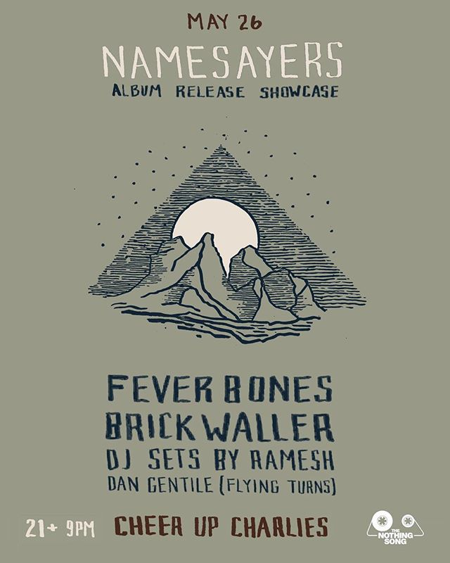 Can't wait to celebrate with @namesayersofficial at their album release show this Saturday at @cheerupcharlies!  Come by and pick up a copy of their beautiful new record, MANTLES, from sweet new lathe label, @oldfaithfulrecords! Music starts at 9pm! 🌔